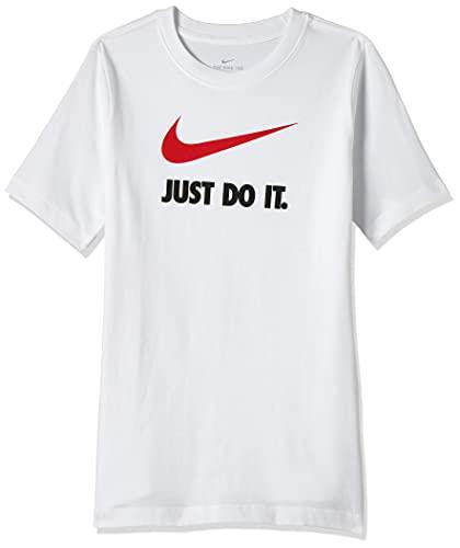 NIKE Sportwear JDI T-Shirt for Kids Camiseta de Manga Corta, Niños, Blanco (White/University Red), M (137-147 CM)