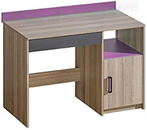 Mirjan24  Schreibtisch Ultimo U08 mit Schublade, Schülerschreibtisch, Schreibtischschrank, PC-Tisch, Kinderschreibtisch, Computertisch (Coimbra Esche Anthrazit + Lila)