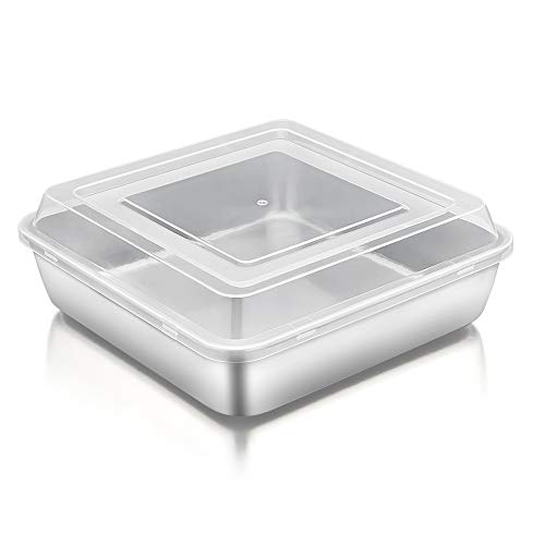 TeamFar Square Cake Pan with Lid, 8 Inch Square Baking Pan Stainless Steel Cake Brownie Pan with Lid For Meal Prep Storage Transporting Food, Healthy & Durable, Dishwasher Safe & Easy Clean