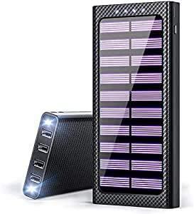 KEDRON Solar tragbares Ladegerät 24000mAh Power Bank Hochgeschwindigkeitsladen Riesige Kapazität Externe Akkus Ladegeräte mit 3 Eingängen und 4 Ausgängen Tragbares Telefonladegerät für Smartphones
