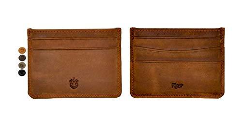 Crown & Tiger - Tarjetero para Tarjetas de Crédita de Cuero Vintage - para 5 Tarjetas y con Compartimento para Billetes Plano - Vintage Design (Crazy Tobacco)