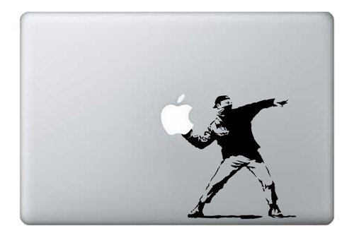 MacBook 13, 15, 17 inch Decal Sticker Black Banksy Flowers Art for Apple Laptop