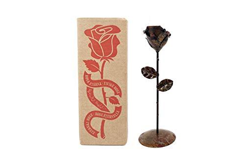 Rosa Eterna de Hierro Forjado Oxidada con peana - Forjada a Mano