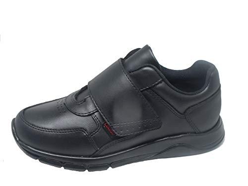 Coloso Tenis Escolares Negros De Piel con Ajuste de Velcro Unisex (25.5, Negro)