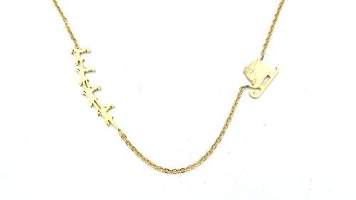 schmuck-stadt Nikolaus mit Schlitten Kette 50 cm Gold-Farben