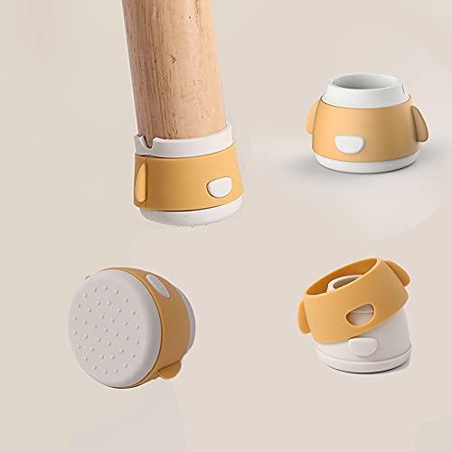 椅子脚カバー 脚ピタキャップ 足キャップ 脚カバー チェアソックス 椅子 脚 シリコンカバー 騒音 床傷防止 滑り止め 家具保護 簡単取付 丸型4個セット(直径3-4.5cm対応)イエロー