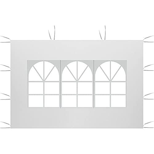 3 m x 2 m Seitenteile, Pavillon Zelt Seitenteile Wasserdicht 210D Oxford Tuch Sonnenschutz eine Seite Shelter Sichtschutz (weißes, römisches Fenster)
