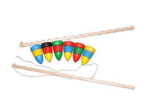 Peitschenkreisel bunt – 1 Kreisel und 1 Peitsche im Set – Holzspiel – Holzspielzeug aus dem Erzgebirge – Geschicklichkeitsspiel – NEU