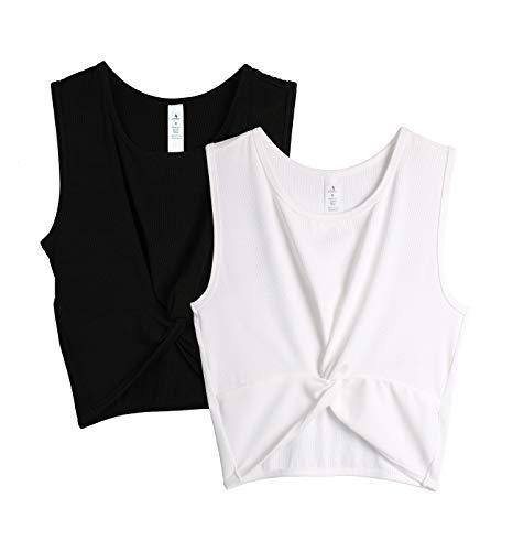 icyzone Camiseta de Fitness Deportiva de Tirantes Top Corto Mujer, Pack de 2 (L, Negro/Blanco)