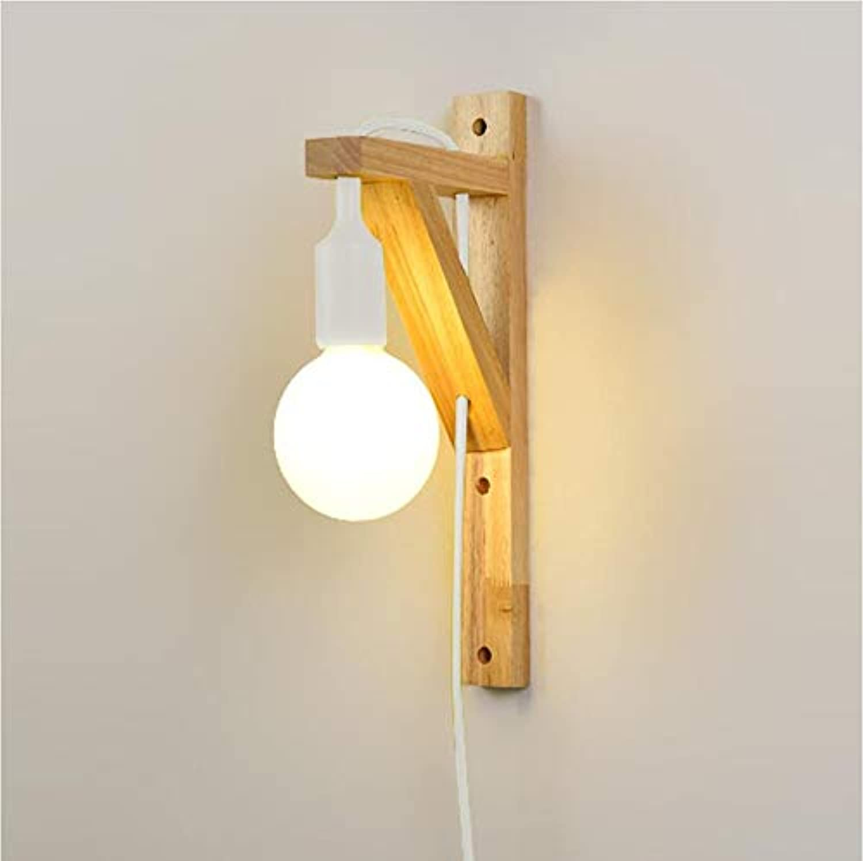 AGECC 110-230V Wandleuchte Lampe für den Innenbereich Schlafzimmer-Nachttischlampe einfache Persnlichkeit führte nordisches Holz Schlafzimmer Nachttischlampe Wandlampe Schalter Holzkorridore, wei