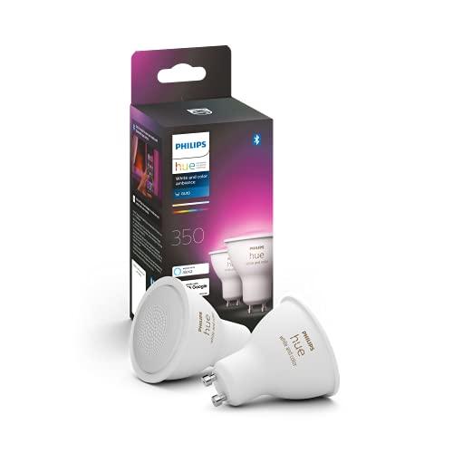 Philips Hue Pack de 2 Bombillas Inteligentes LED GU10, con Bluetooth, Luz Blanca y Color, Compatible con Alexa y Google Home
