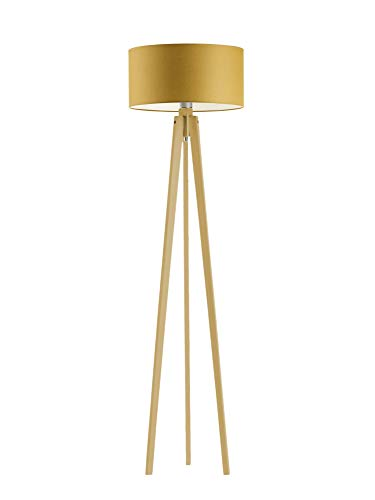Miami - Lámpara de pie de madera, color amarillo mostaza, marco de madera de roble
