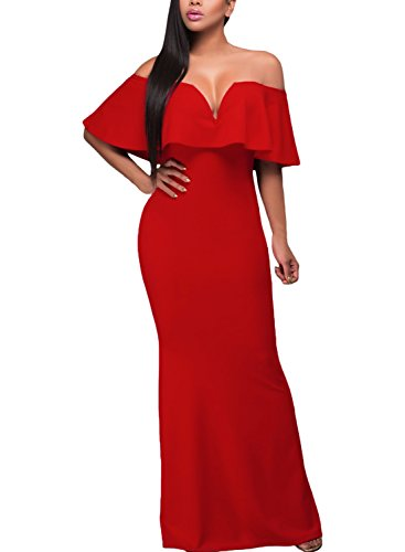 Alvaq Women's Sexy V Neck Ruffle Off Shoulder Evening Maxi Party Dress, Red, Large