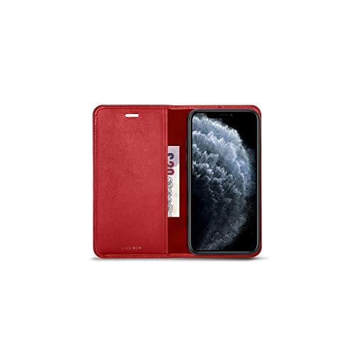 Lucrin - Funda Cartera Compatible con iPhone 11 Pro - Rojo - Piel Liso