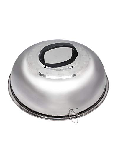 Mydracas Round Basting Cover Steaming Cover for Flat Top Griddle Stainless Steel Cheese Melting Dome Griddle Accessories with Heat Resistant Handle and Foldable Clip, 12 inches