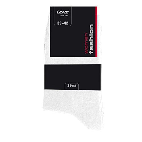 Lenz Damen 3er Pack Socken Uni Weiß 35-38, 301-30-35