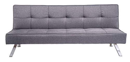 Enrico Coveri Contemporary Divano Letto Grigio 3 Posti elegante con funzione letto in tessuto, dimensioni: 175 x 83 x 73 cm