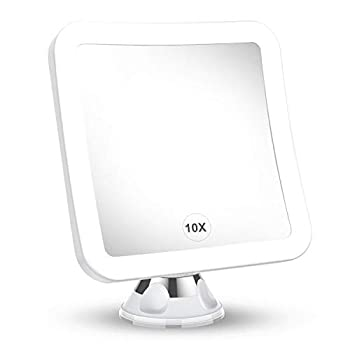 2021 Upgraded 10x Magnifying Lighted Makeup Mirror with Natural White LED Lights 360°Swivel Portable Cordless Makeup Mirrors with Locking Suction Base for Home Bathroom Shower and Travel