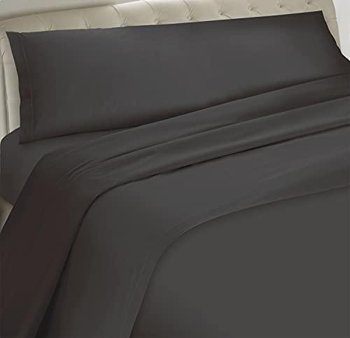 Banzaii Juego de Sábanas 100% Microfibra 3 Piezas para Cama de 105 – 1 Sábana Bajera Ajustable + 1 Encimera + 1 Funda de Almohada 45x125 cm, Gris Oscuro