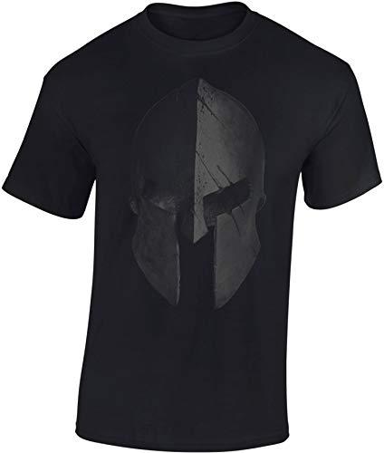 Camiseta: Casco Esparta - Train Hard - Fitness T-Shirt hombre-s y mujer-es - Forma Gimnasio Gym - Camisa Sport Deporte - Culturismo Body-Building Workout - Regalo - Sparta - MMA Combate Boxeo (XXL)