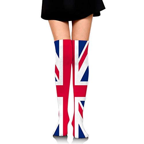AOOEDM Calcetines hasta la rodilla de las mujeres de los hombres Calcetines de compresión de la bandera del Reino Unido Calcetín atlético