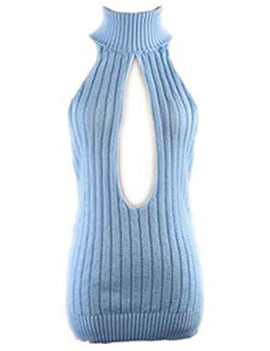 YUANMO Damen Pullover ärmellose Rückenfrei Turtleneck Open Back Sweater Backless Jumpsuit Strickpullover