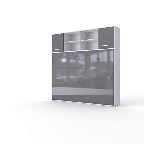 Amazing Deal Contempo Horizontal Wall Bed, European Twin Size with a Cabinet on top (White/Grey)