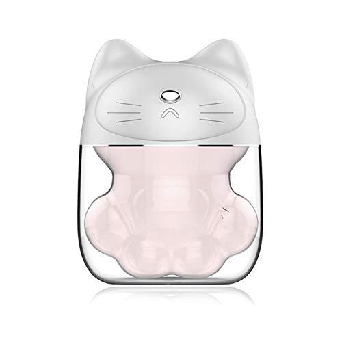 Tragbare Mini USB Luftbefeuchter, Süße Katzen pfote Leiser Nebel-Luftbefeuchter mit 6 Farben LED Nachtlicht, 150 ml Wassertank für Schlafzimmer Baby Büro Autonutzung (Weiß)