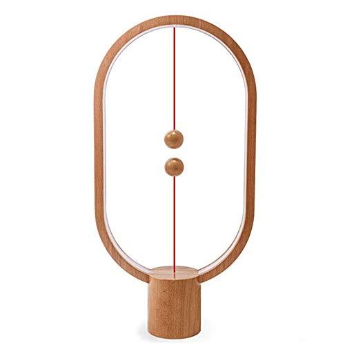 WngLei Heng Balance Lamp - Interruptor magnético LED Lámpara LED Conjure, lámpara LED, lámpara de mesa, decoración de dormitorio, sala de estar, comedor y escritorio de madera clara (color de madera n