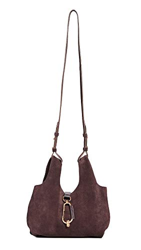 Leather: Cowhide suede Brushed hardware Length: 10.75in / 27cm Height: 6.75in / 17cm Carabiner clip closure