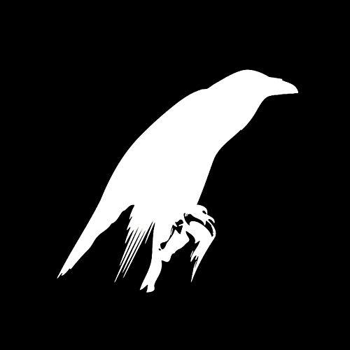 GQQ auto sticker 15.5 * 14.3Cm leuke kraai vogel veren snavel vleugels decoratie Vinyl Decals zwart/zilver auto Stickers accessoires ZILVER