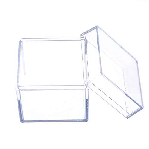 SimpleLife Caja de exhibición de acrílico Transparente de 5 Lados Caja de Almacenamiento de Joyas Caja de Accesorios de Cubo Cuadrado, 5 x 5 x 5 cm