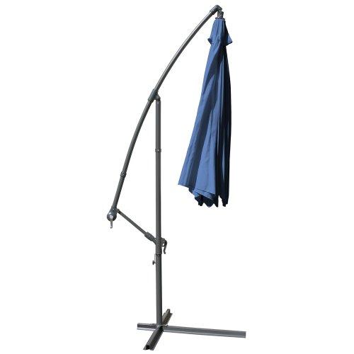 MIADOMODO Parasol Déporté - Diamètre 3,5 m, Inclinable, Excentré, Protection UV 30+, Polyester, Manivelle, Couleurs au Choix - Parasol Octogonal, de Jardin, Terrasse, Balcon (Bleu)