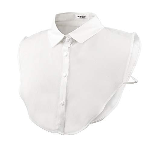 Wearlizer Frauen Kragen Abnehmbare Hälfte Shirt Bluse mit Strass Weiß (Chiffon V)