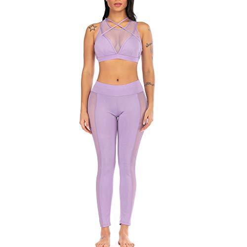 Asalinao Running-Hosen für Damen Leggings Perspektive Yoga Weste Shorts Sport Fitness Set Elastische Oberteile + Hosen