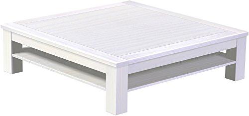 Brasilmöbel Couchtisch Rio Classico 140x140 cm Pinie Weiß mit Ablage Wohnzimmertisch Holz Tisch Pinie Massivholz Stubentisch Beistelltisch Echtholz Größe und Farbe wählbar