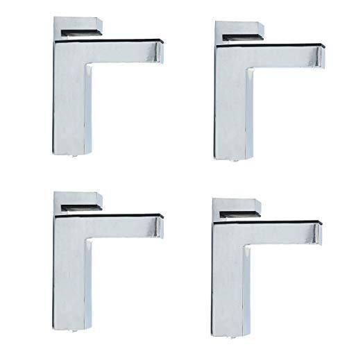NUZAMAS - Juego de 4 abrazaderas de cristal en forma de F, montaje en pared, abrazadera ajustable, panel de 6 a 28 mm de grosor, aleación de zinc, acabado cromado, soporte para estante
