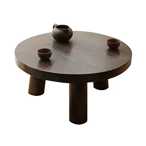 Tables basses Meubles Ronde Salon Solide en Bois Chambre à Coucher Table Ordinateur lit Petite Table à Manger for Les Enfants Tables (Color : Black, Size : 45 * 22cm)