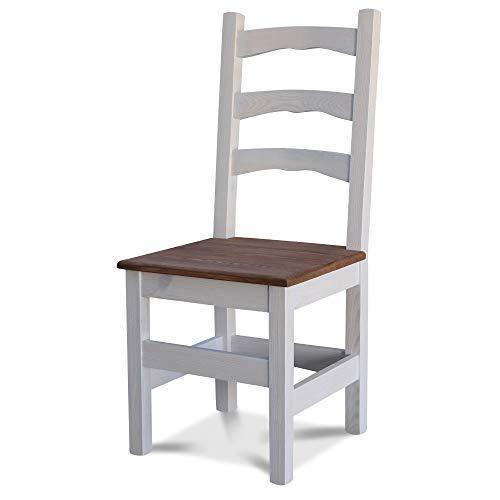 Elean Kuechenstuhl Holzstuhl Esszimmerstuhl Stuhl mit Lehne Kiefer massiv vollholz zusammengebaut Zweifarbich HSL - 01 (Weiß - Palisander)