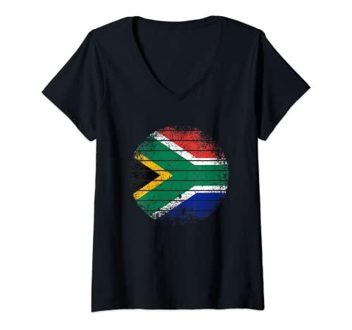 Mujer Sudáfrica Vintage Sudafricana Bandera áspero Camiseta Cuello V