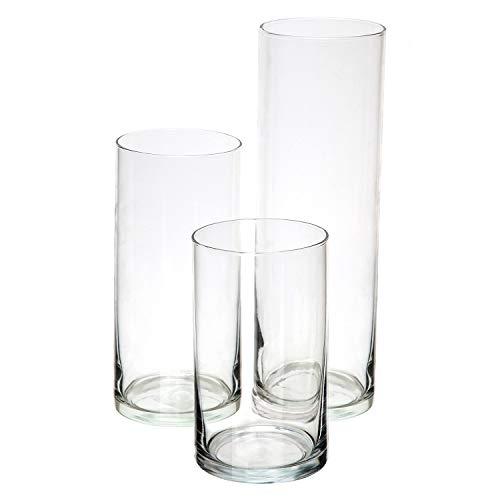 Royal Imports Vase dekorative Glaszylinder Mittelachse für den Haushalt oder Hochzeit 3er Set ohne Kerzen Claro