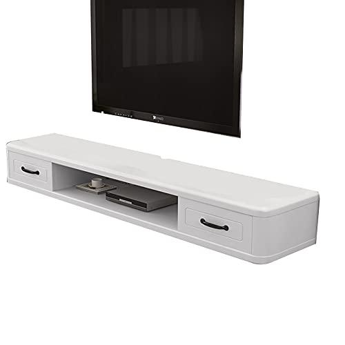 Consola Multimedia De Pared, Soporte De TV Flotante, Mueble De TV De Madera con 2 Cajones, Blanco 120/140 Cm (Size : 140cm)
