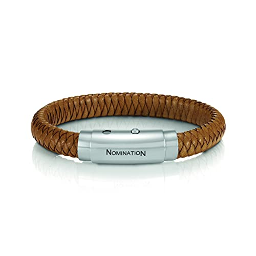 Pulsera de cuero Unisex Nomination colección Safari. Color Marrón con detalles en acero. Longitud 18,5 cm. Made in Italy.