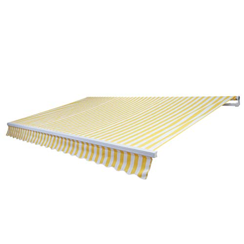 Mendler Alu-Markise HWC-E49, Gelenkarmmarkise Sonnenschutz 2,5x2m - Polyester Gelb/Weiß