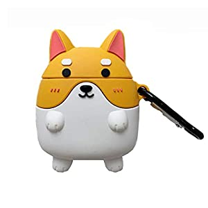 Creative Cute Corgi Dog Style with Carabiner Yellow & Black Compatible Silicone AirPods Protective Cover (1st and 2nd Generation) (Yellow)