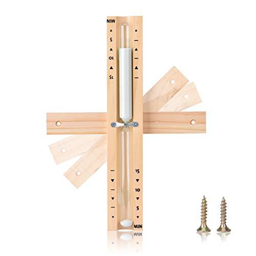 Sanduhr Sauna 15 Minuten Sandglass Sandclock aus Holz Saunazubehör Zeitmesser Sauna Zeitmessgerät (Weiß)