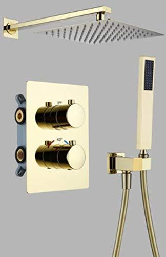 LXUNIA Oro o Oro Cepillado u Oro Rosa Latón Interruptor de Control termostático Grifos de válvula mezcladora Tina Oculta de 10 Pulgadas, Cepillo de Dos vías Dorado
