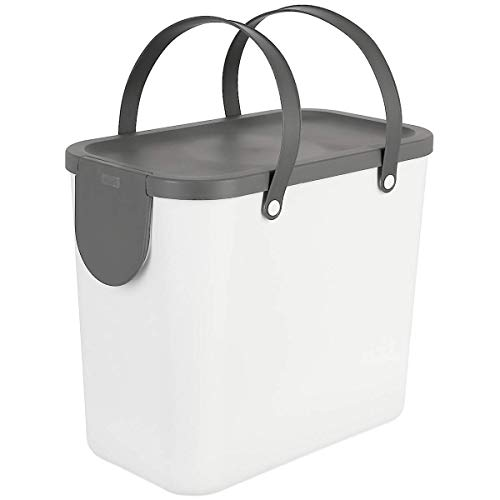Clas Ohlson Indoor Recycling Bin With Handles - Made Of Recycled PP Plastic, Compost Bin, Food Caddy (white, 25l)