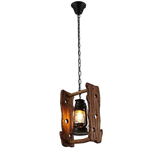 CHNOI Lampadario - Hanging d'antiquariato metallo Legno Vetro lampada decorativa Retro lampada a sospensione creative personalità Soggiorno Camera Sala Studio Chandelier