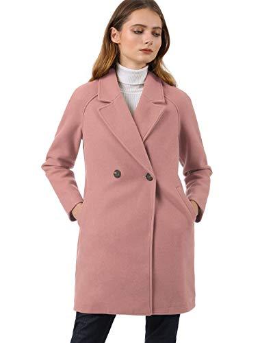Allegra K Trench Abrigo Raglán Doble Botonadura Solapa con Muescas para Mujer Rosa XS